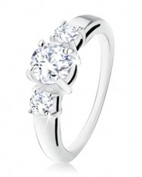 Strieborný zásnubný prsteň 925, tri okrúhle číre kamienky, rozdvojené ramená S74.11 - Veľkosť: 49 mm