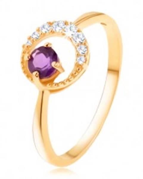 Zlatý prsteň 585 - tenký zirkónový polmesiac, ametyst vo fialovom odtieni - Veľkosť: 49 mm
