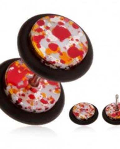 Akrylový fake piercing do ucha, farebné fľaky na povrchu, gumičky PC06.21