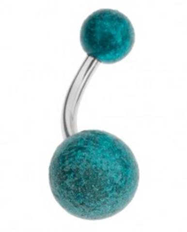 Akrylový piercing do pupka, tyrkysové guličky s pieskovaným povrchom PC20.24