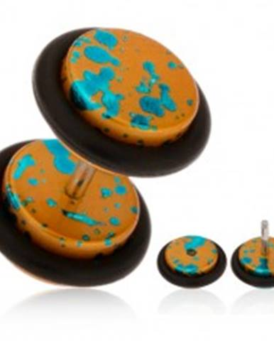 Falošný plug do ucha z akrylu zlatooranžovej farby, tyrkysové škvrny PC01.26