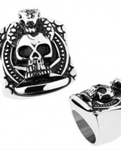 Prsteň z ocele 316L, strieborná farba, patinovaná lebka, praskliny, kobra - Veľkosť: 56 mm