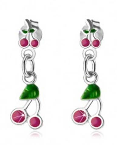 Visiace náušnice, striebro 925, čerešne s ružovofialovou a zelenou glazúrou