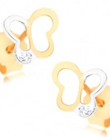 Zlaté náušnice 375 - dvojfarebná kontúra motýlika, číry zirkónik GG57.05
