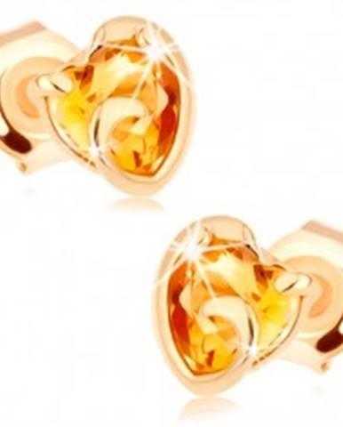 Zlaté náušnice 585 - srdiečko zo žltého citrínu v neúplnom obryse
