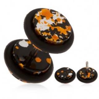 Akrylový falošný plug do ucha - fľaky čiernej, oranžovej a striebornej farby PC05.30