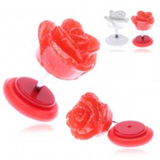 Falošný piercing do ucha z akrylu s trblietavou ružičkou - Farba piercing: Biela