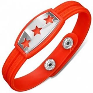 Gumený náramok červenooranžový, známka s hviezdami AA35.15