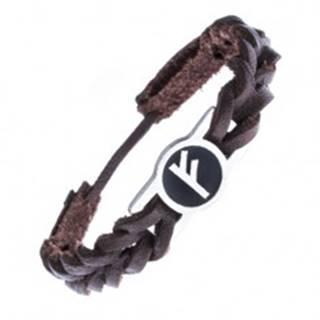 Kožený náramok, pletenec, známka a runový znak FEHU