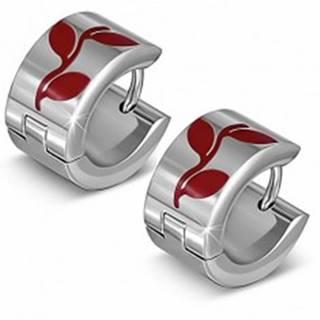 Kruhové náušnice z ocele s motívom červených lístkov AA37.18