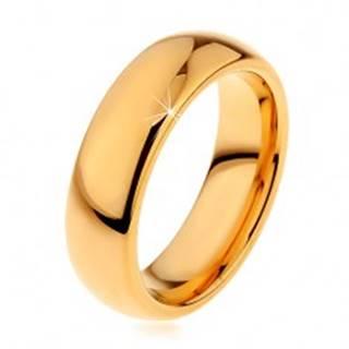 Lesklá tungstenová obrúčka zlatej farby, hladký zaoblený povrch, 6 mm - Veľkosť: 49 mm
