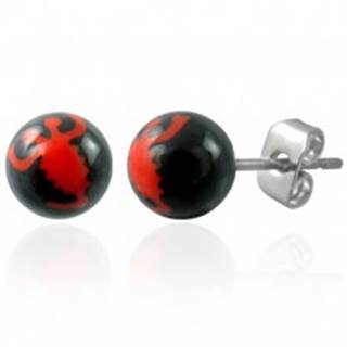Náušnice z ocele čierne guličky - znak červený škorpión