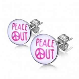 """Oceľové náušnice - nápis """"PEACE OUT"""" v krúžku"""