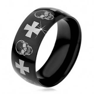 Oceľový prsteň s čiernym povrchom, lebky a kríže striebornej farby, 9 mm - Veľkosť: 59 mm