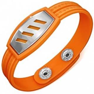 Oranžový gumený náramok - šikmé výrezy na známke, grécky kľúč AA35.20