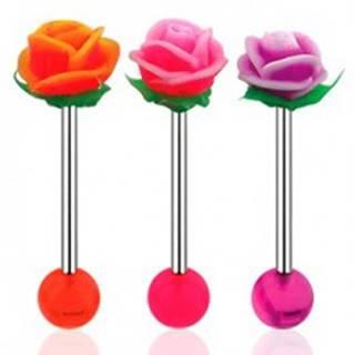 Piercing do jazyka, činka z ocele 316L, akrylová gulička a UV ružička - Farba piercing: Fialová - Biela - AW