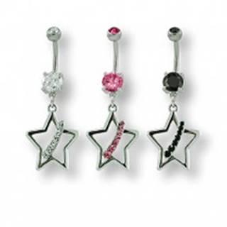 Piercing do pupku so zirkónmi hviezda - Farba zirkónu: Čierna - K