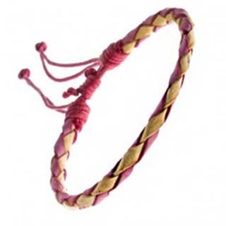 Pletený náramok z kože - červeno-žltý pletenec, šnúrky
