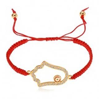 Pletený nastaviteľný náramok červenej farby, symbol Hamsa, číre zirkóny Z25.06