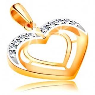 Prívesok v 14K zlate - dve srdcové kontúry v dvojfarebnom prevedení, zirkóny GG194.65