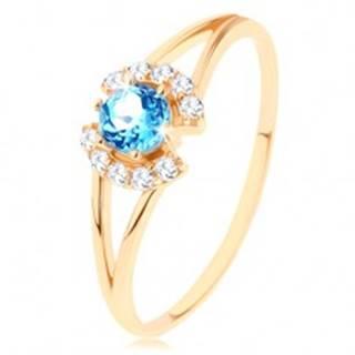 Prsteň v žltom 14K zlate - číre zirkónové oblúčiky, okrúhly modrý topás - Veľkosť: 49 mm