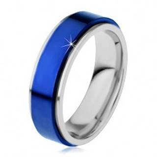Prsteň z ocele 316L, modrý vyvýšený pás, okraje striebornej farby - Veľkosť: 54 mm