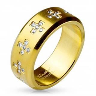 Prsteň z ocele 316L zlatej farby, číre zirkónové krížiky po obvode, 8 mm - Veľkosť: 59 mm