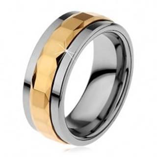 Prsteň z tungstenu, strieborná a zlatá farba, otáčavý stredový pás so štvorcami, 8 mm - Veľkosť: 49 mm