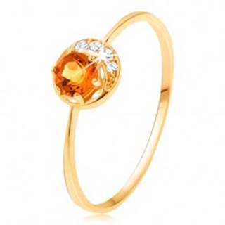 Prsteň zo žltého 14K zlata - úzky kosáčik mesiaca, žltý citrín, zirkóniky čírej farby - Veľkosť: 50 mm