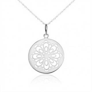 Strieborný náhrdelník 925, okrúhly prívesok, vyrezaný zdobený kvet SP09.04