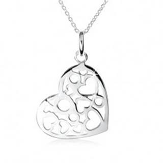 Strieborný náhrdelník 925, prívesok srdca s výrezmi sŕdc a kruhov SP09.12