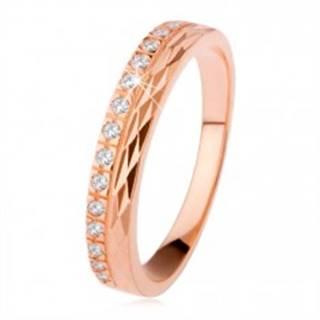 Strieborný prsteň 925 medenej farby, diamantový rez, zirkónová línia - Veľkosť: 50 mm