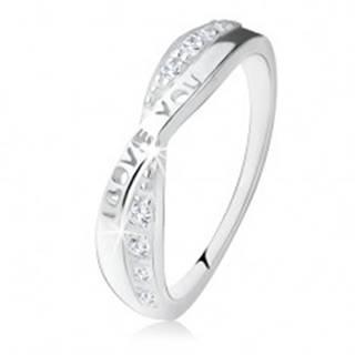 """Strieborný prsteň 925, prekrížené ramená, zirkóny, nápis """"I LOVE YOU"""" S76.04 - Veľkosť: 49 mm"""