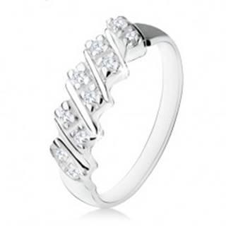 Strieborný zásnubný prsteň 925, päť šikmých pásikov s čírymi zirkónmi S85.12 - Veľkosť: 48 mm
