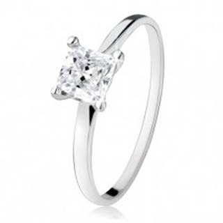 Zásnubný prsteň zo striebra 925, zirkónový štvorec, úzke ramená S85.14 - Veľkosť: 49 mm