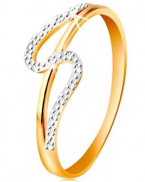 Diamantový prsteň zo 14K zlata, rovné a zvlnené rameno, drobné číre diamanty - Veľkosť: 49 mm