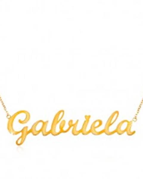 Náhrdelník v žltom zlate 585 - jemná retiazka, lesklý prívesok Gabriela