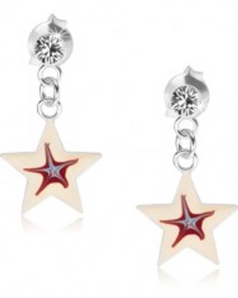 Náušnice zo striebra 925, biela hviezdička s červeno-modrým stredom