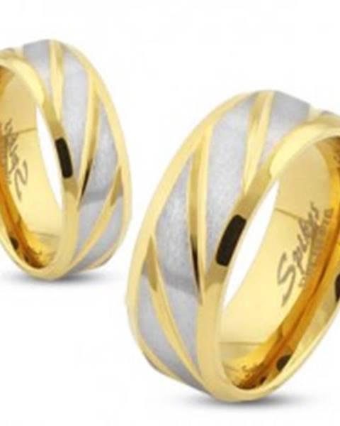 Oceľová obrúčka zlatej farby, šikmé pásy v striebornom odtieni, 6 mm - Veľkosť: 49 mm