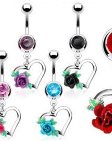 Oceľový piercing do bruška, obrys srdca, rozkvitnutá ruža s lístkami, zirkóny - Farba zirkónu: Aqua modrá - Q