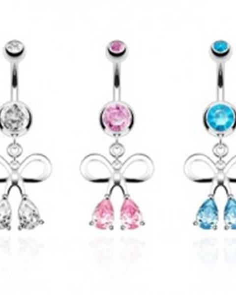 Oceľový piercing do pupka, strieborná farba, kontúra mašle, zirkónové kvapky - Farba zirkónu: Aqua modrá - Q