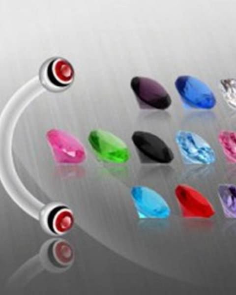 Piercing do obočia guličky, zirkón - Farba zirkónu: Aqua modrá - Q
