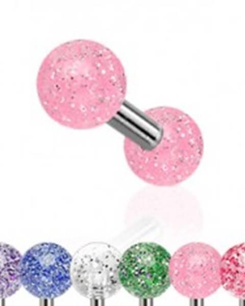 Piercing do tragusu z ocele, farebné akrylové guličky s trblietkami - Farba piercing: Červená