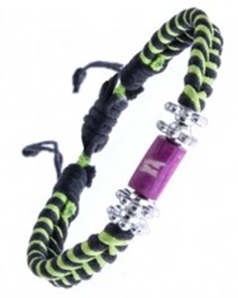 Pletený náramok - čierno-zelený, kvietky a valček s krížikmi