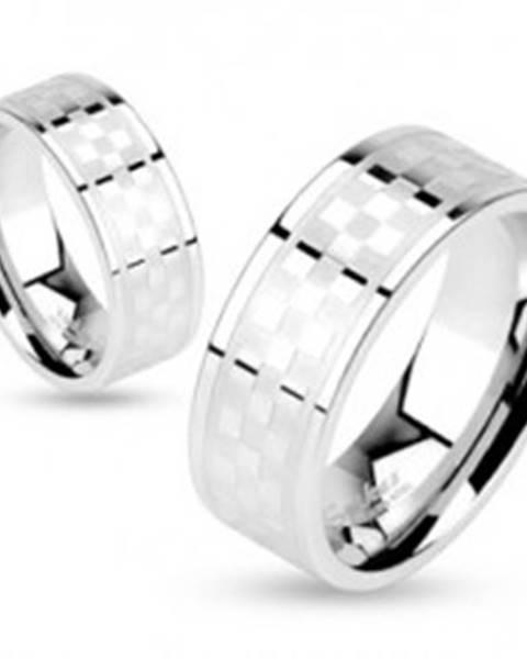 Prsteň z chirurgickej ocele, vzor matno-lesklej šachovnice, 6 mm - Veľkosť: 50 mm