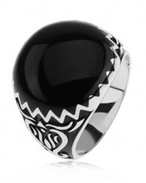 Prsteň zo striebra 925, čierne zdobenie, cik cak vzor a ornamenty - Veľkosť: 54 mm