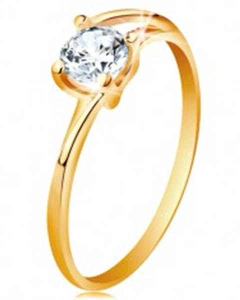 Prsteň zo žltého 14K zlata - tenké rozdelené línie ramien, žiarivý číry zirkón - Veľkosť: 49 mm