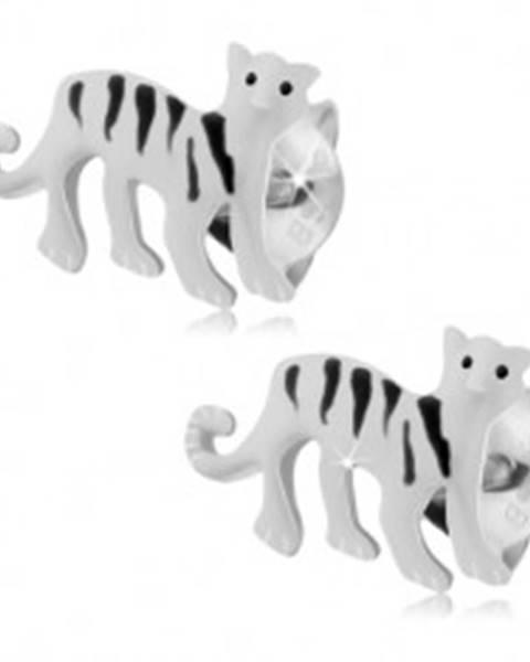 Strieborné náušnice 925, biely tiger s čiernymi pásikmi, puzetové zapínanie