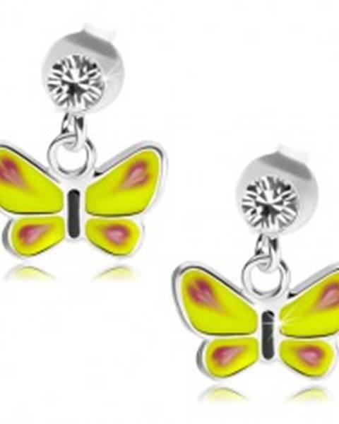Strieborné náušnice 925, žltý motýľ, číry Swarovského krištálik