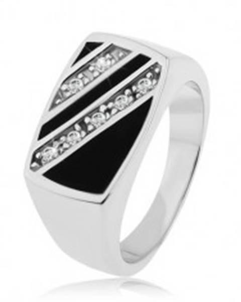 Strieborný prsteň 925, obdĺžnik - šikmé línie čírych zirkónov, čierna glazúra S83.16 - Veľkosť: 53 mm